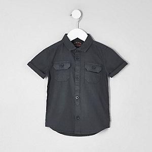 Mini - Blauw utility overhemd met korte mouwen voor jongens