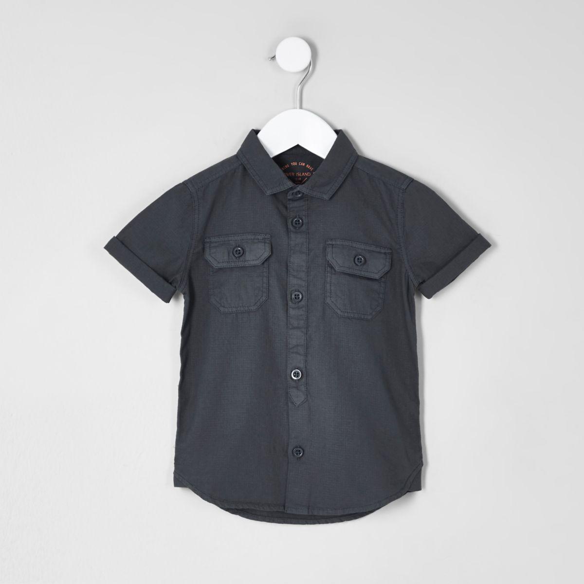 Mini boys blue short sleeve utility shirt