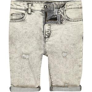 Sid – Short en jean skinny déchiré gris pour garçon