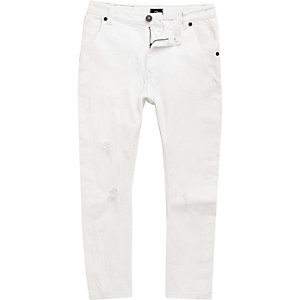 Boys white ripped Tony tapered jeans