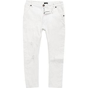 Tony - Witte ripped smaltoelopende jeans voor jongens