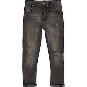 Tony - Zwarte ripped jeans met smaltoelopende pijpen voor jongens