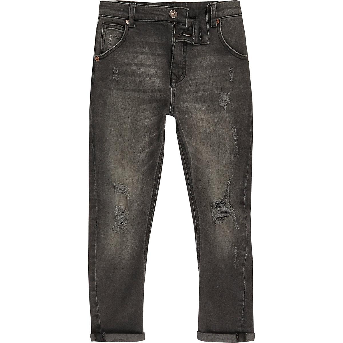 Boys black Tony ripped tapered jeans
