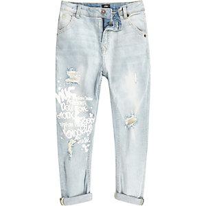 Tony - Lichtblauwe graffiti smaltoelopende jeans voor jongens
