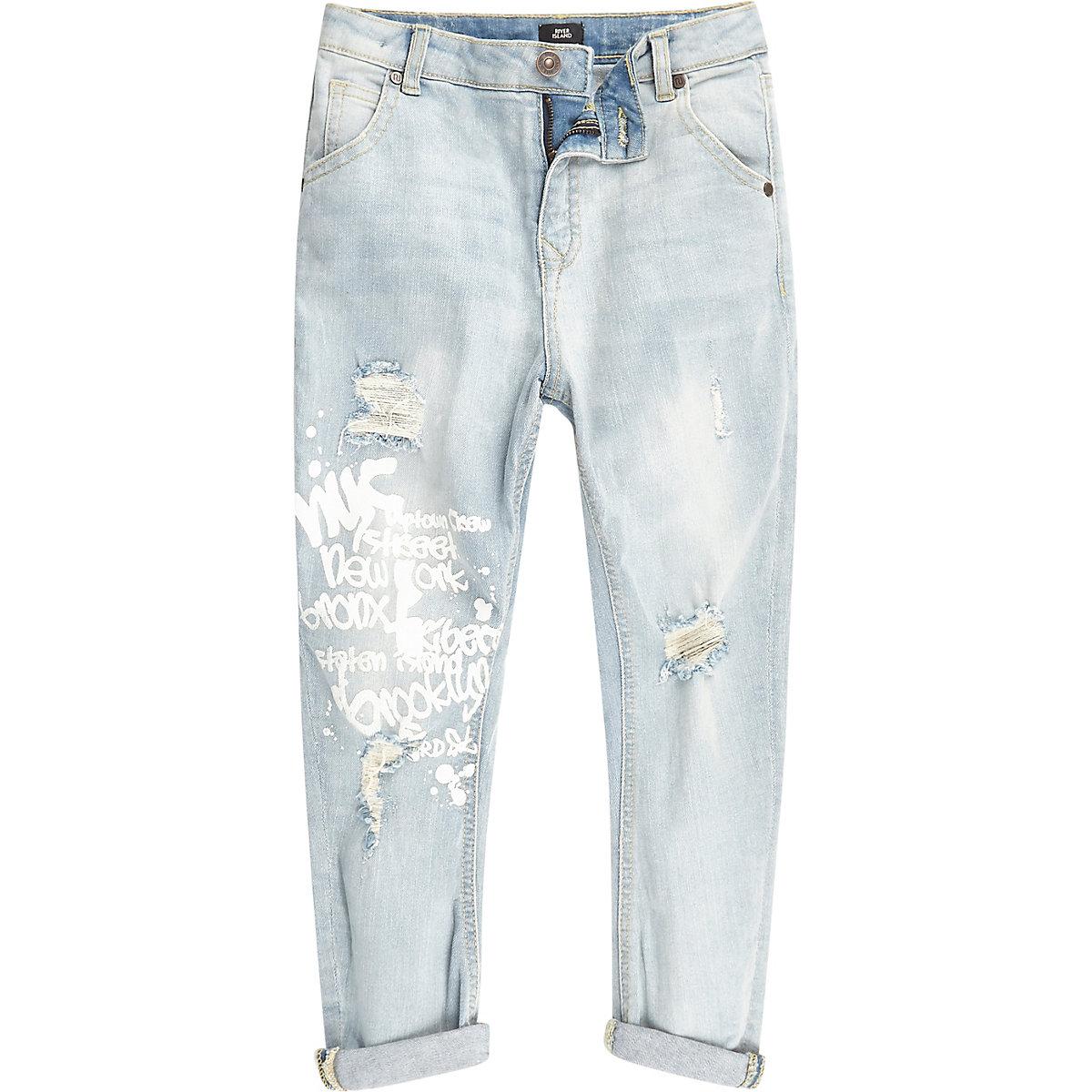 Boys light blue Tony graffiti tapered jeans