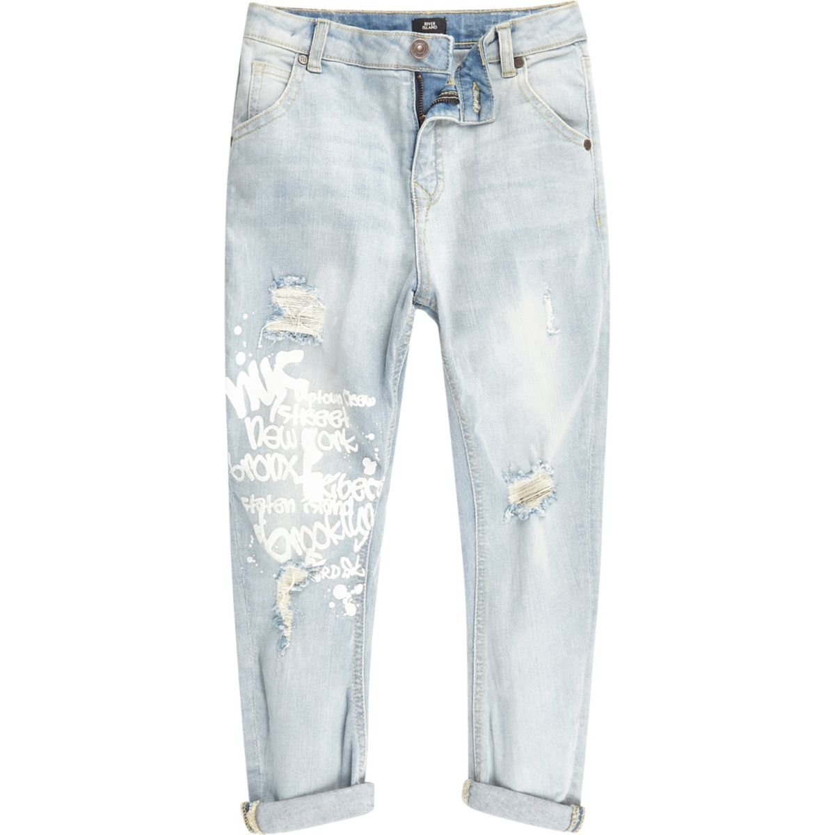 Boys light blue Tony graffiti tapered jeans