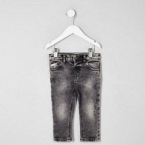 Mini - Sid - Acid wash skinny jeans voor jongens