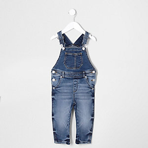 Mini kids mid blue denim overalls