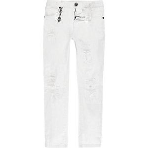 Sid – Jean skinny blanc déchiré pour garçon
