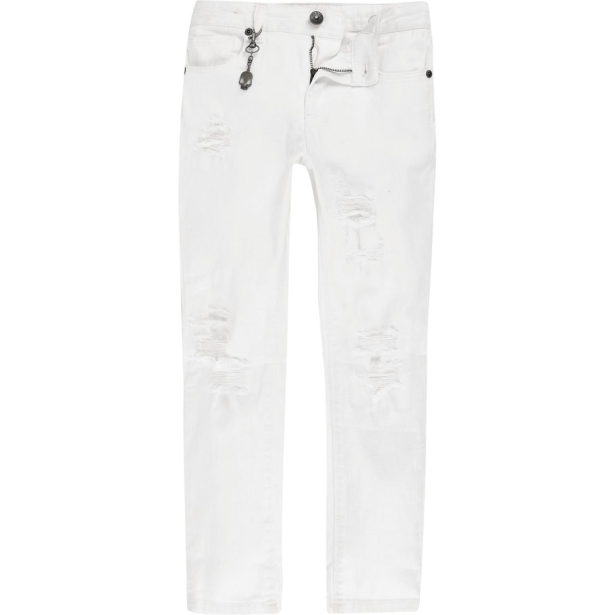 Boys White Sid Ripped Skinny Jeans by River Island
