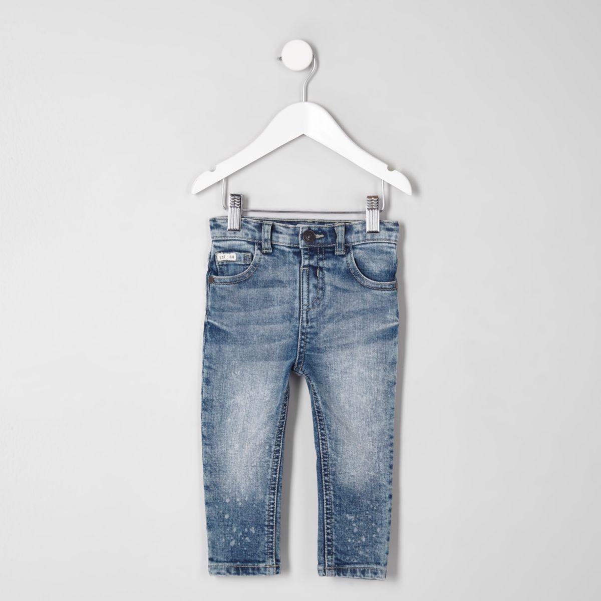 Jean skinny bleu délavage moyen mini garçon