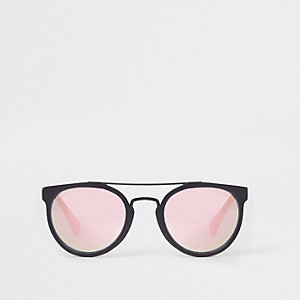 Boys black aviator peach lens sunglasses