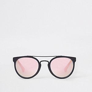 Zwarte pilotenzonnebril met perzikkleurige glazen voor jongens