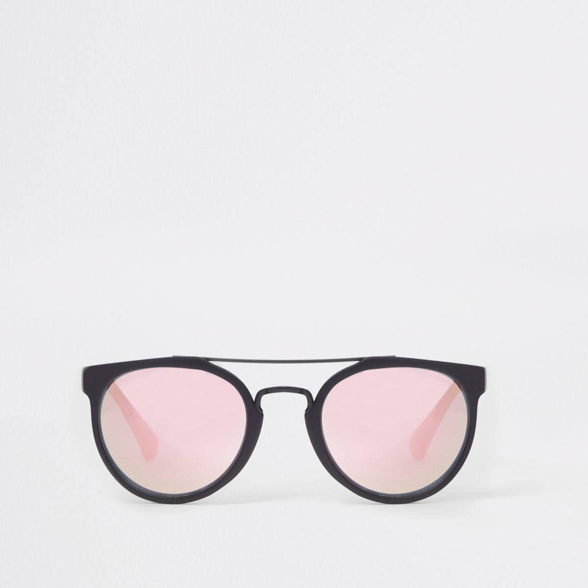 Boys black aviator peach lens sunglasses