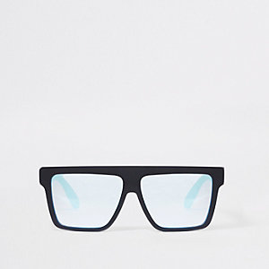 Boys black rubberised square visor sunglasses