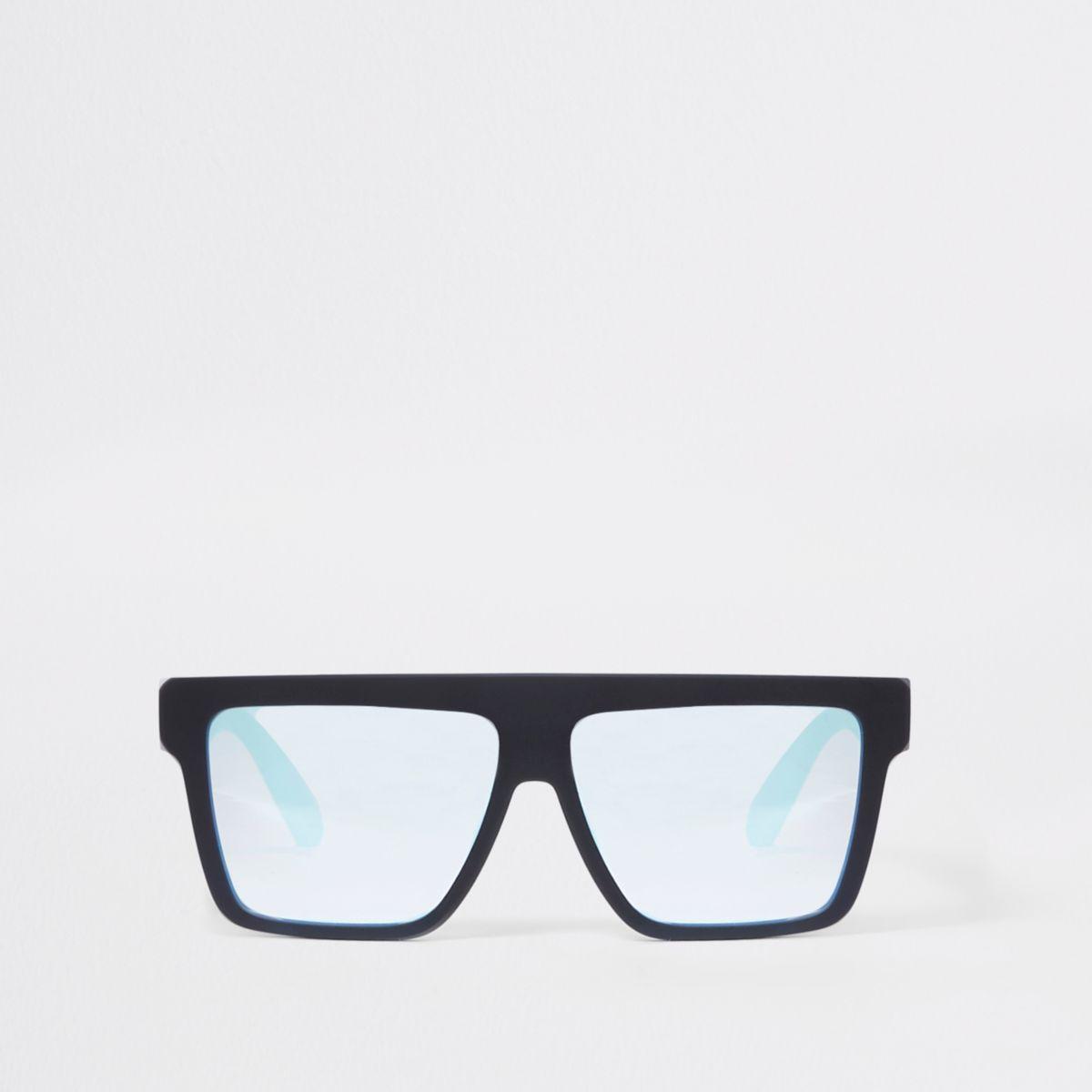 Boys black rubberised square visor sunglasses