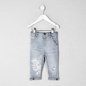 Mini - Tony - Lichtblauwe jeans met graffitiprint voor jongens