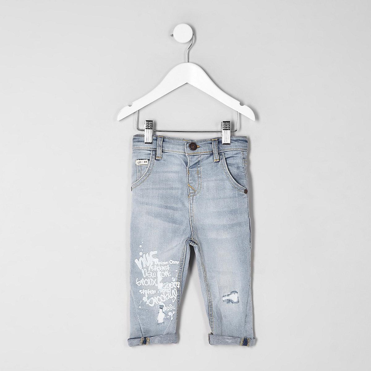 Mini boys light blue Tony graffiti jeans