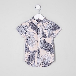 Mini boys pink leaf print short sleeve shirt