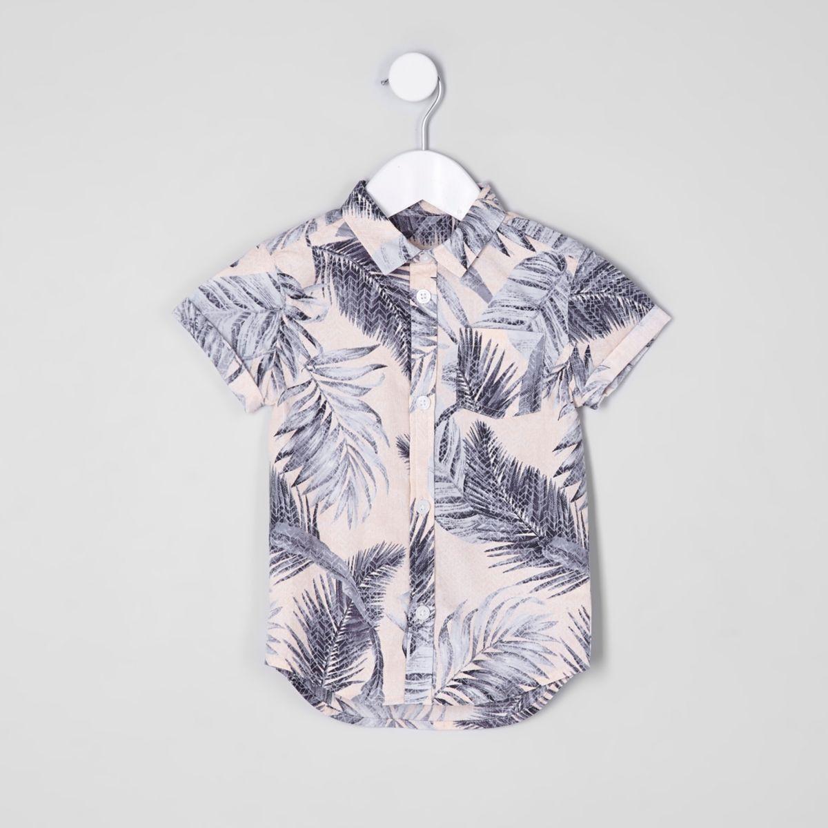 Mini boys pink leaf print short sleeve shirt