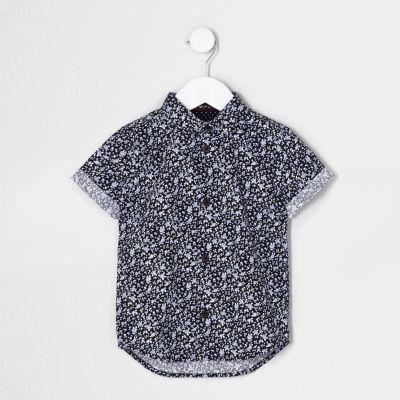 River Island Chemise à petites fleurs bleue à manches courtes mini garçon