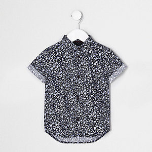 Mini boys blue ditsy short sleeve shirt