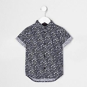 Mini - Blauw overhemd met korte mouwen en bloemenprint voor jongens