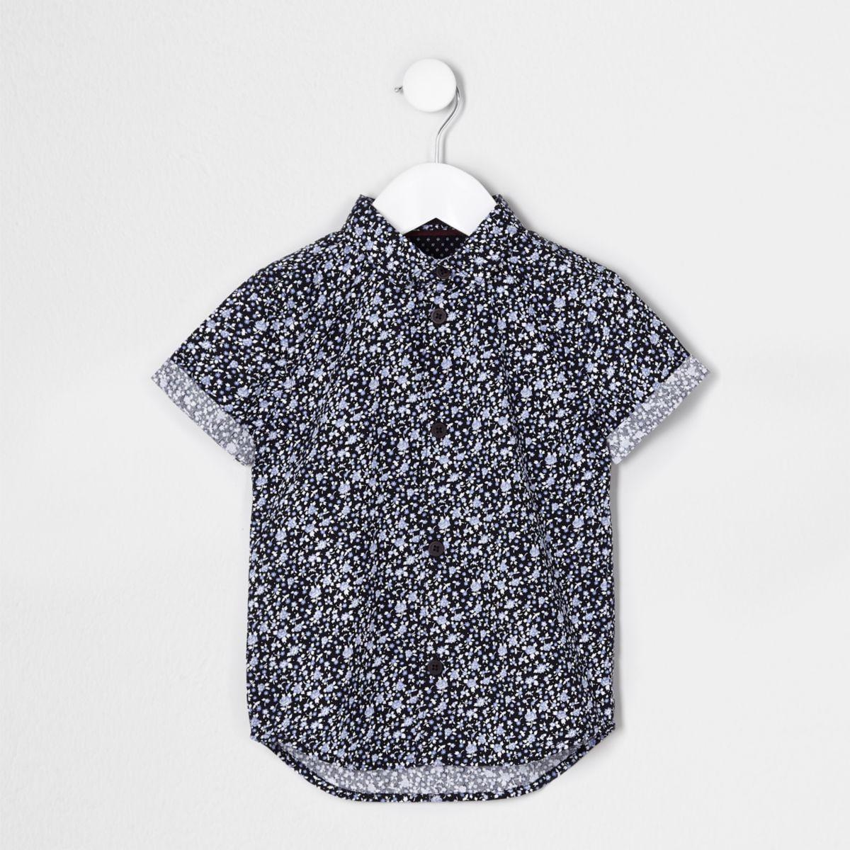 Mini boys blue ditsy short sleeve shirt