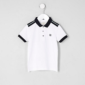 Mini boys white chest embroidered polo shirt
