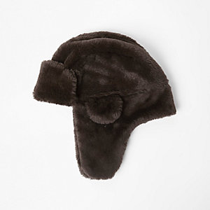 Boys brown faux fur trapper hat