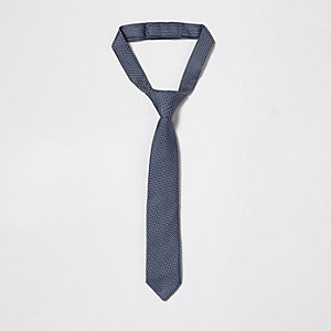 Mini boys navy jacquard tie