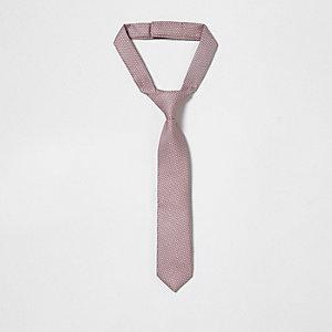 Cravate motif jacquard rose mini garçon
