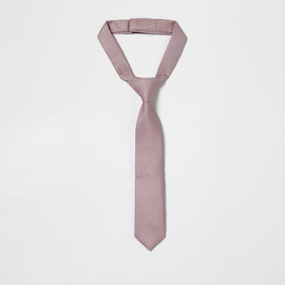 Mini boys pink jacquard tie