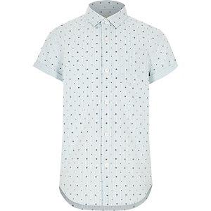 Lichtgroen overhemd met print en korte mouwen voor jongens