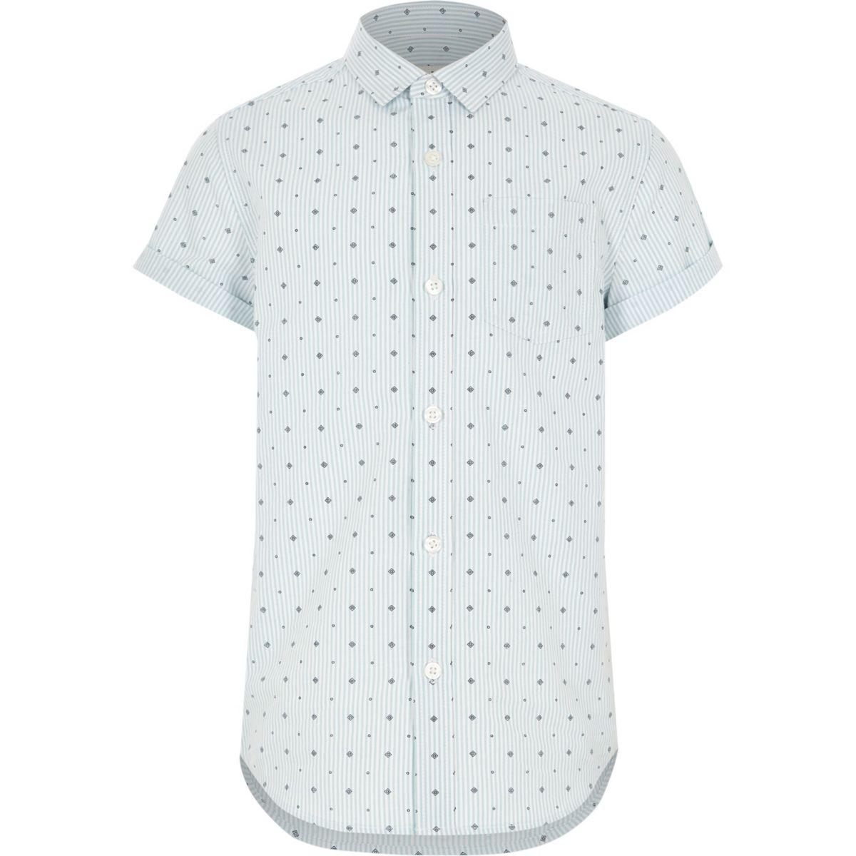 Boys light green printed short sleeve shirt