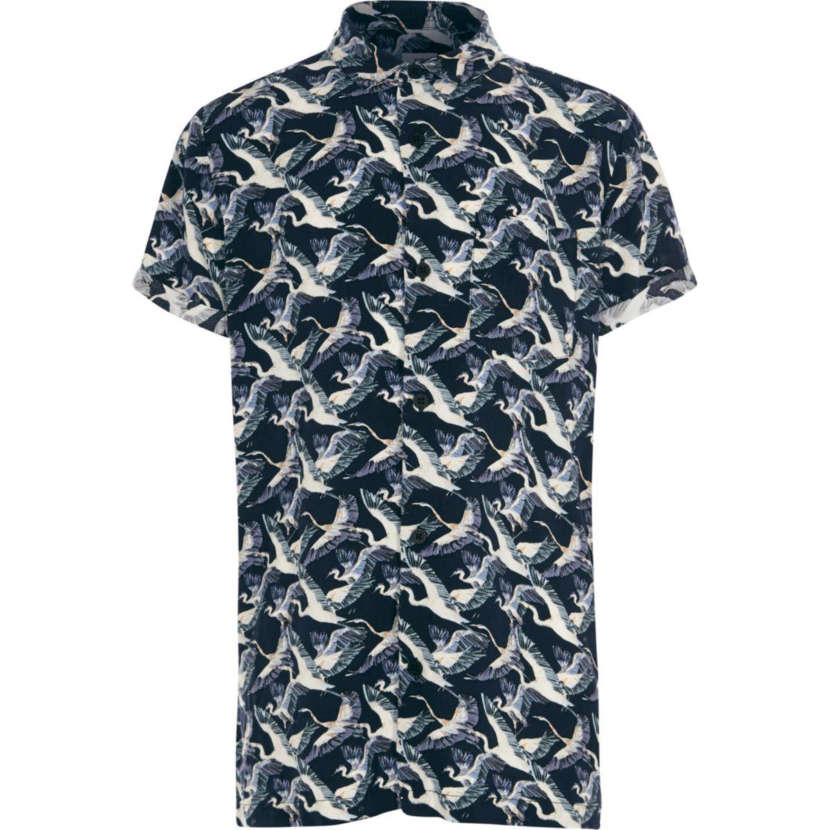 Boys navy crane bird print short sleeve shirt