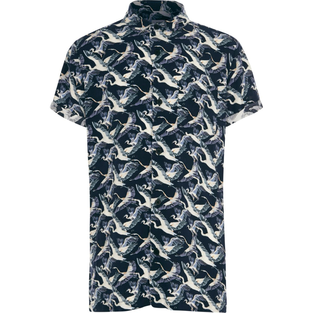 Boys navy crane bird print short sleeve shirt