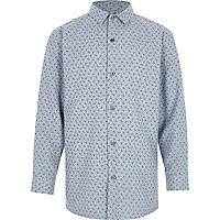 Boys blue paisley print long sleeve shirt