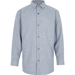 Blaues langärmeliges Hemd mit Paisleymuster