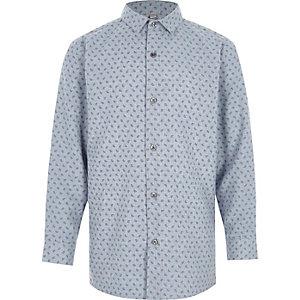 Chemise manches longues à imprimé cachemire bleue pour garçon