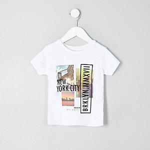Mini boys white 'New York City' print T-shirt