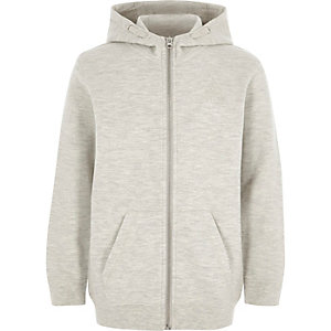Boys grey zip-up pique hoodie
