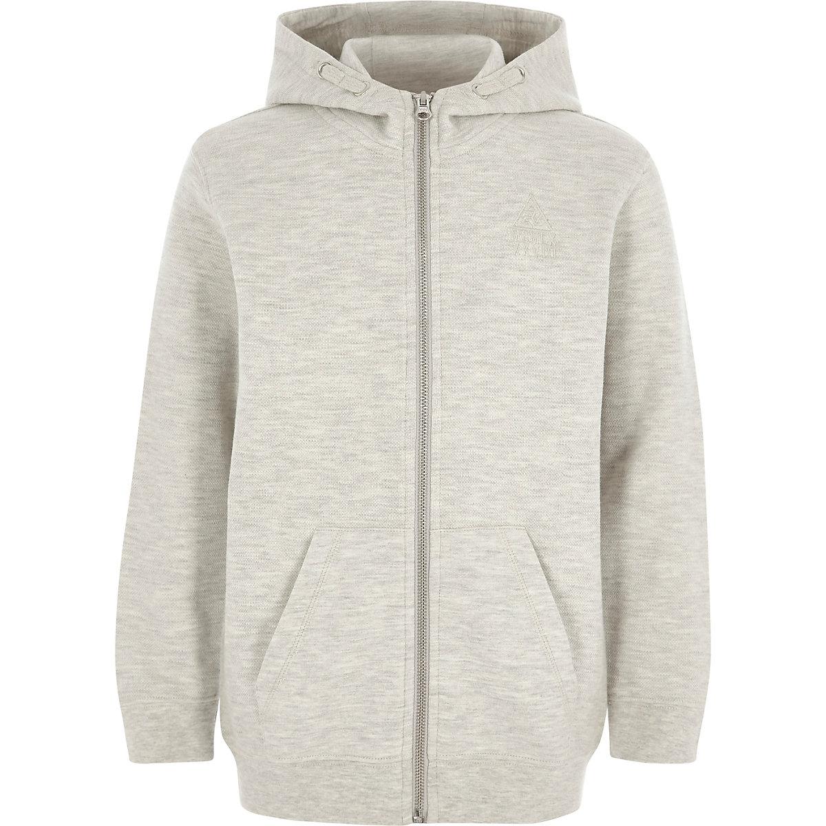 Sweat de survêtement à capuche en piqué gris zippé pour garçon