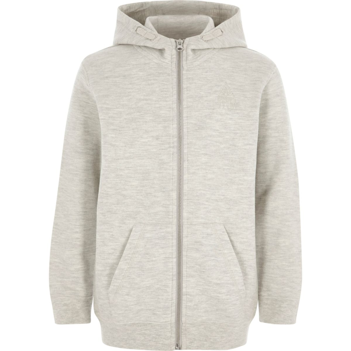 Boys grey zip-up pique tracksuit hoodie