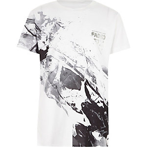 Boys white mono marble print 'faded' T-shirt