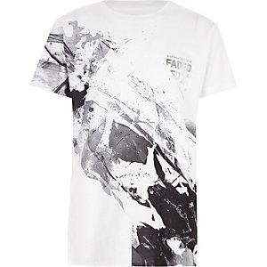 Zwart-wit T-shirt met marmereffect en 'Faded'-print voor jongens