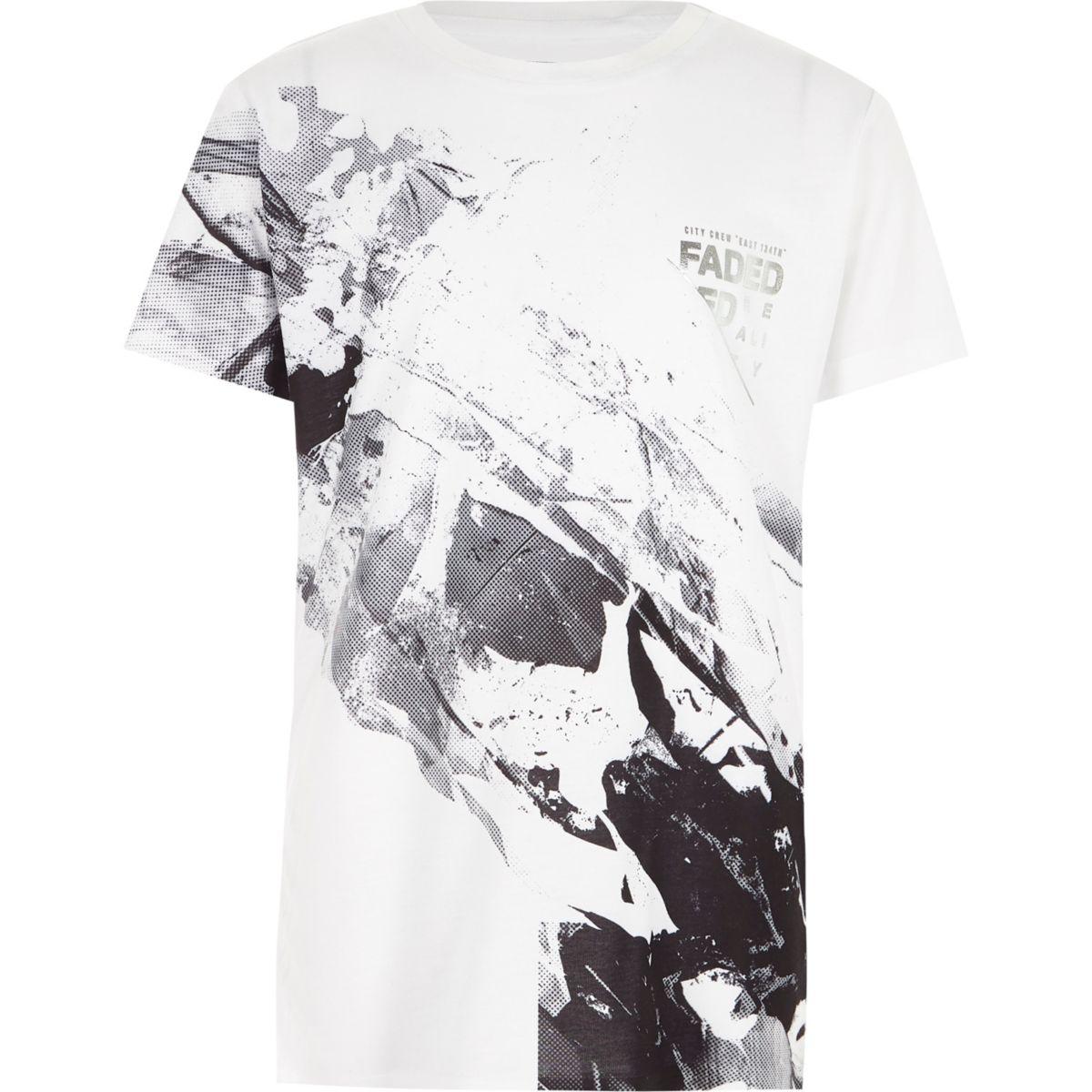 Boys white mono marble print 'faded' T-shirt