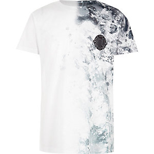 Boys white side smudge print T-shirt
