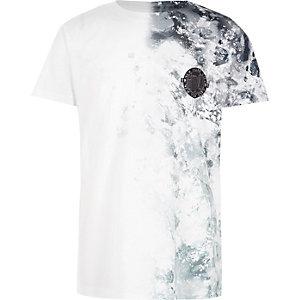 T-shirt blanc imprimé tâches sur le côté garçon
