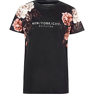Boys navy 'New York City' floral T-shirt